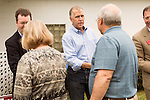 April 6, 2014. Durham, North Carolina.<br />  Thom Tillis, center, greets attendees. Tillis is one of eight Republican candidates running for Democrat Kay Hagan's Senate seat.<br /> As the the primary scheduled for May 6th grows near, several of the the eight Republican candidates running for the US Senate seat of incumbent Democrat Kay Hagan have increased their public visibility, appearing at events such as the Durham County Lincoln Douglas Lunch, where each candidate was given a few minutes to address the gathered Republican friendly crowd.