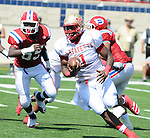 Lafayette High's Jeremy Liggins (1) runs vs. Evangel Christian in Shreveport, La.  on Saturday, September 10, 2011. Lafayette High won 35-34.