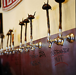 Taps in the shape of Viking hats at the Fearless Brewing Company, a brewery in downtown Estacada, Oregon