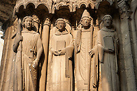 Gothic statues  from the Cathedral of Chartres, France. . A UNESCO World Heritage Site.
