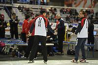 SPEED SKATING: CALGARY: Olympic Oval, 08-03-2015, ISU World Championships Allround, Jillert Anema en Aart van der Wulp in USA kleding, ©foto Martin de Jong