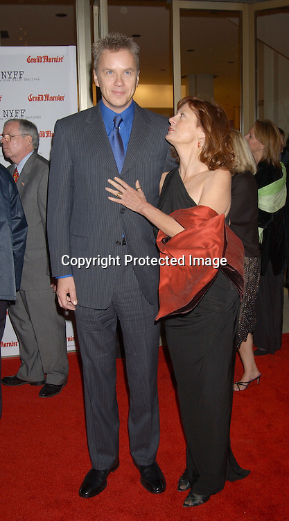 """..Tim Robbins and Susan Sarandon in Donna Karan dress..arriving at the opening of the 41st New York Film Festival ..screening of """" Mystic River"""" on October 3, 2003 in New York City. Photo By Robin Platzer, Twin Images"""