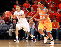 CHARLOTTESVILLE, VA- NOVEMBER 20: China Crosby #1 of the Virginia Cavaliers drives down court next to Glory Johnson #25 of the Tennessee Lady Volunteers during the game on November 20, 2011 at the John Paul Jones Arena in Charlottesville, Virginia. Virginia defeated Tennessee in overtime 69-64. (Photo by Andrew Shurtleff/Getty Images) *** Local Caption *** Glory Johnson;China Crosby