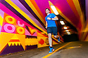 PE00281-00...WASHINGTON - Piierce Prohovost jogging in a pedestrian tunnel on the Burk Gilman Trail in Kenmore. (MR# P9)