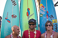 MICHAEL HO (HAW), NATHAN FLETCHER (USA) and  BRUCE IRONS (HAW) .Waimea Bay, Hawaii, Thursday December 4 2008 .North Shore of Oahu,. The opening ceremony of the Quiksilver in Memory of Eddie Aikau Big Wave Invitational was held today at Waimea Bay.  This year's event celebrates the 24th anniversary of this unique big wave riding event. Photo: joliphotos.com