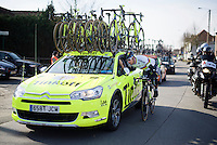 World Champion Peter Sagan (SVK/Tinkoff) dropping back to the team car<br /> <br /> Kuurne-Brussel-Kuurne 2016