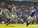 Lee Wallace slots the ball past Fraser Forster to score goal no 3 for Rangers
