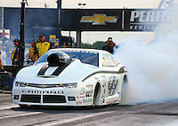 Aug 29, 2014; Clermont, IN, USA; NHRA pro stock driver Shane Gray during qualifying for the US Nationals at Lucas Oil Raceway. Mandatory Credit: Mark J. Rebilas-USA TODAY Sports