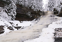 Laughing Whitefish Falls in the winter at the Laughing Whitefish Falls State Scenic Area near Sundell, Michigan.