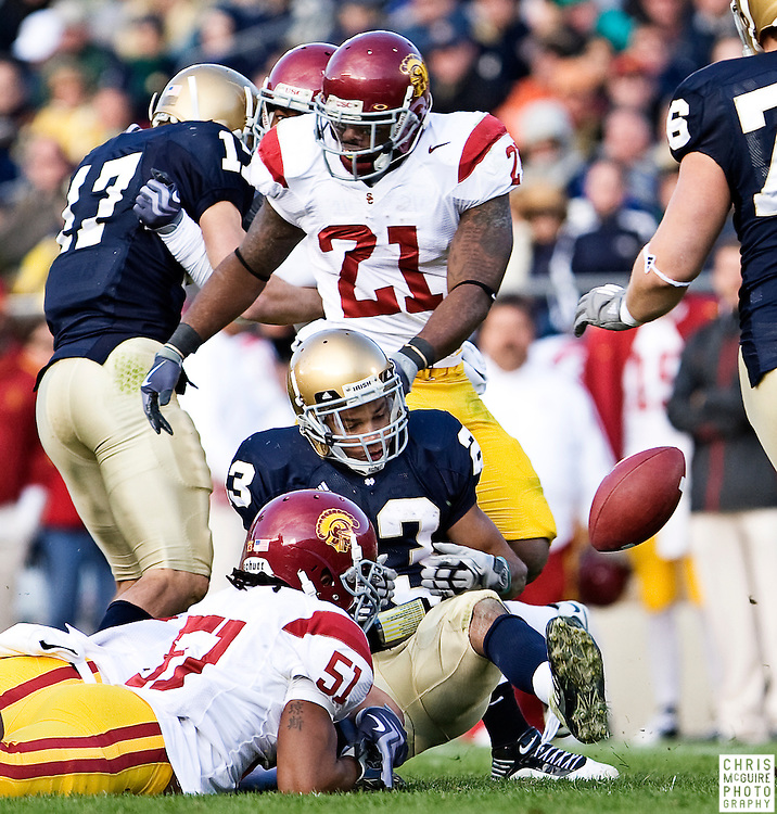 10/17/09 - South Bend, IN:  Notre Dame wide receiver Golden Tate fumbles the ball on a third quarter kickoff return against USC at Notre Dame Stadium on Saturday.  USC won the game 34-27 to extend its win streak over Notre Dame to 8 games.  Photo by Christopher McGuire.