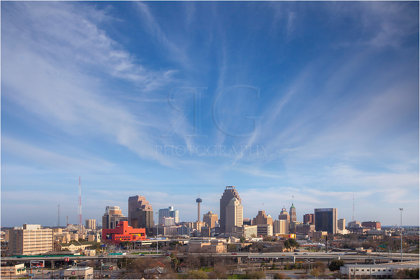From a lofty perch just north of downtown, this skyline image of San Antonio shows the Alamo city under blue skies.