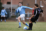 06 December 2008: North Carolina's Billy Schuler (10) defends Northwestern's Mark Blades (7). The University of North Carolina Tar Heels defeated the Northwestern University Wildcats 1-0 at Fetzer Field in Chapel Hill, North Carolina in a NCAA Division I Men's Soccer tournament quarterfinal game.