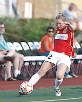 Western New York defender Alex Sahlen (2) crosses the ball just before it goes out. In a Women's Premier Soccer League Elite (WPSL) match, the Boston Breakers defeated Western New York Flash, 3-2, at Dilboy Stadium on May 26, 2012.