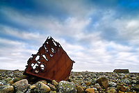 A stranded part of a boatwreck at Hårr, Rogaland, Norway.