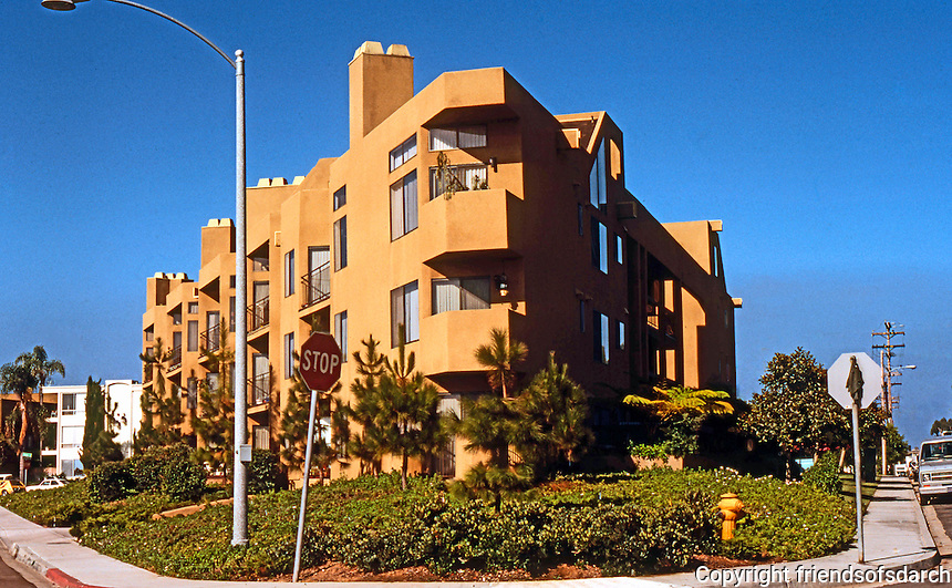 San Diego: 1970's Apartment Complex, Crown Point Drive, Pacific Beach.  (Photo 1978)