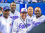 1 April 2016: Mayor of Montreal Denis Coderre, wearing classic Montreal Expos attire, poses with former Expos (left to right) Tim Raines, Vladimir Guerrero, Jose Vidro and Marquis Grissom prior to a pre-season exhibition game between the Toronto Blue Jays and the Boston Red Sox at Olympic Stadium in Montreal, Quebec, Canada. The Red Sox defeated the Blue Jays 4-2 in the first of two MLB weekend exhibition games, which saw an attendance of 52,682 at the former home on the Montreal Expos. Mandatory Credit: Ed Wolfstein Photo *** RAW (NEF) Image File Available ***