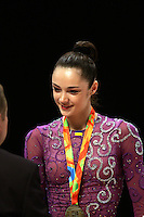 Anna Bessonova of Ukraine wins Gold, Silver and Bronze in rhythmic gymnastics apparatus final at World Games from Duisburg, Germany on July 20-21, 2005.  Event finals in rhythmic gymnastics are only held at World Games. (Photo by Tom Theobald)