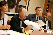 State Board of Elections Chairman Larry Leake and member Charles Winfree during the hearing, Tues., Oct. 27, 2009.