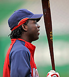 15 August 2008: Washington Nationals' outfielder Lastings Milledge warms up prior to facing the Colorado Rockies at Nationals Park in Washington, DC. The Rockies edged out the Nationals 4-3, handing the last place Nationals their 8th consecutive loss. ..Mandatory Photo Credit: Ed Wolfstein Photo