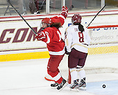 Victoria Pittens (Cornell - 14), Dana Trivigno (BC - 8) - The Boston College Eagles defeated the visiting Cornell University Big Red 4-3 (OT) on Sunday, January 11, 2012, at Kelley Rink in Conte Forum in Chestnut Hill, Massachusetts.