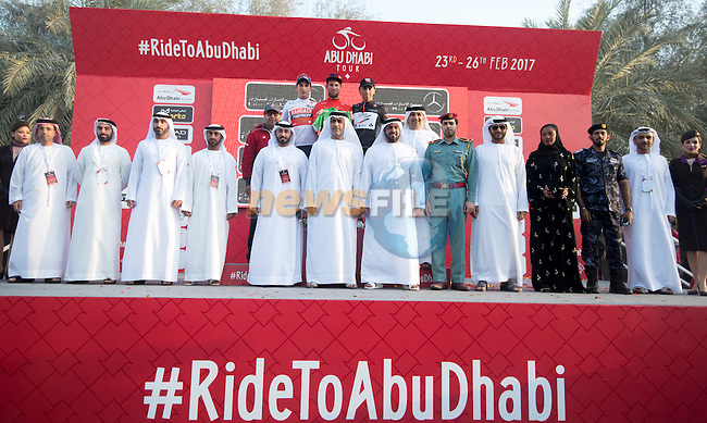 Niccolo Bonifazio (ITA) Bahrain-Merida wears the young riders White Jersey, stage winner and race leader Mark Cavendish (GBR) Team Dimension Data and Manuele Mori (ITA) UAE Abu Dhabi intermediate sprints Black Jersey on the podium at the end of Stage 1 Emirates Motor Company Stage of the 2017 Abu Dhabi Tour, running 189km from Madinat Zayed through the desert and back to Madinat Zayed, Abu Dhabi. 23rd February 2017<br /> Picture: ANSA/Claudio Peri | Newsfile<br /> <br /> <br /> All photos usage must carry mandatory copyright credit (&copy; Newsfile | ANSA)