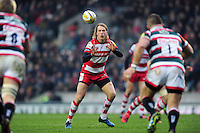 Billy Twelvetrees of Gloucester Rugby receives the ball. Aviva Premiership match, between Leicester Tigers and Gloucester Rugby on February 11, 2017 at Welford Road in Leicester, England. Photo by: Patrick Khachfe / JMP