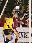 1 December 2006: Florida State's Ali Mims (1) and Katrin Schmidt (GER) (7) fail to prevent Notre Dame's second goal. The University of Notre Dame Fighting Irish defeated Florida State Seminoles 2-1 at SAS Stadium in Cary, North Carolina in an NCAA Division I Women's College Cup semifinal game.