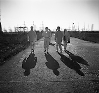 Chernobyl, Ukraine, Ocober 1995..The explosion at the Chernobyl Nuclear Power Plant on April 26 1986 was the worst nuclear accident in history..Workers in protective clothing walk toward Reactor No 4.
