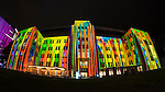 The Museum of Contemporary Art building Illuminated during the 2016 Vivid Light Festival