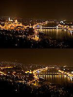 """The combination photo taken on March 26, 2011 shows the Castle of Buda (L) and the Chain Bridge (R) before (Top) and during the """"Earth Hour"""" in Budapest, Hungary. The """"Earth Hour"""", initiated by the World Wild Fund for Nature (WWF) in 2007, calls on families and buildings to turn off the lights for one hour on the last Saturday night of March. ATTILA VOLGYI"""