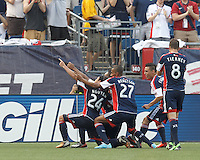 In formation to celebrate New England Revolution midfielder Lee Nguyen (24) goal. In a Major League Soccer (MLS) match, the New England Revolution (blue) defeated LA Galaxy (white), 5-0, at Gillette Stadium on June 2, 2013.