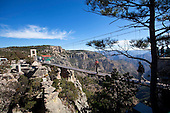 Swinging bridge, Divisadero lookout, Copper Canyon, Chihuahua, Mexico