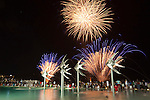 Fireworks over Esplanade Lagoon during annual Festival Cairns.  Cairns, Queensland, Australia