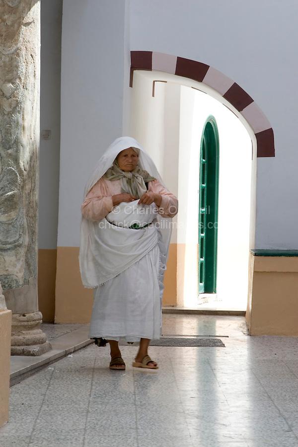 Tripoli, Libya - Woman, Traditional Dress, Karamanli Mosque, Tripoli Medina.
