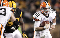 PITTSBURGH, PA - DECEMBER 08:  Colt McCoy #12 of the Cleveland Browns runs with the ball against the Pittsburgh Steelers during the game on December 8, 2011 at Heinz Field in Pittsburgh, Pennsylvania.  (Photo by Jared Wickerham/Getty Images)