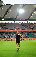 Goalkeeper Hope Solo of team USA during the FIFA Women's World Cup at the FIFA Stadium in Wolfsburg, Germany on July 6thd, 2011.