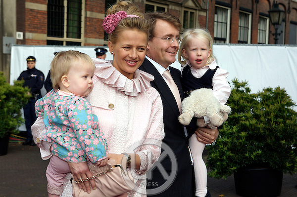 Prince Johan Friso and Princess Mabel with their children Zaria and Luana attend The Christening of Princess Ariane of The Netherlands, The youngest daughter of Crown Prince Willem Alexander and Crown Princess Maxima of The Netherlands at The Kloosterkerk in The Hauge, Holland.