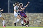 18 November 2016: North Carolina's Julia Ashley (left) and Kansas's Grace Hagan (right) challenge for the ball. The University of North Carolina Tar Heels played the University of Kansas Jayhawks at Fetzer Field in Chapel Hill, North Carolina in a 2016 NCAA Division I Women's Soccer Tournament Second Round match. UNC won the game 2-0.