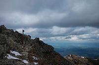 Female hiker near summit of Beskid (2014 m), Tatra mountains, Poland