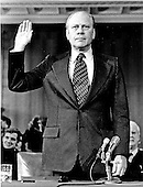United States Representative Gerald R. Ford (Republican of Michigan), United States Vice President-designate, takes his oath as he is sworn-in to testify on his confirmation before the United States Senate Rules Committee in Washington, D.C. on November 1, 1973.  Ford, the United States House of Representatives Minority Leader, was appointed by United States President Richard M. Nixon to replace Vice President Spiro Agnew who resigned after pleading no contest to a charge of income tax evasion.<br /> Credit: Bernard Schopper - CNP