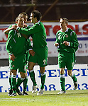 Josh McQuoid celebrates his opening goal for Northern Ireland