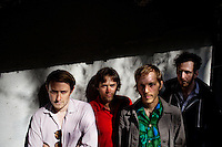 Los Angeles, Calif., April 26, 2009 - From left, Lewis Nicolas Pesacov,  Garrett Ray, Matt Popieluch and Ariel Rechtshaid of the band Foreign Born in front of an abandoned home in Elysian Park in Los Angeles.