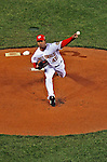 30 March 2008: Washington Nationals' pitcher Odalis Perez delivers the first pitch of the game against the Atlanta Braves inaugurating Nationals Park in Washington, DC. The Nationals defeated the Braves 3-2 to open the season, and christen the new state-of-the-art ballpark to a sellout crowd of 39,389...Mandatory Photo Credit: Ed Wolfstein Photo