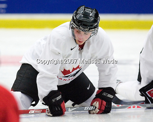Brad Marchand (Hammonds Plains, NS - Foreurs de Val d'Or) took part in Team Canada's morning skate on Friday, January 5, 2007 prior to meeting Russia in the 2007 World Championship gold medal game at Ejendals Arena in Leksand, Sweden.