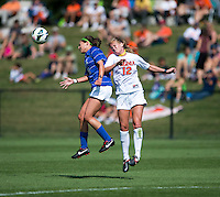 Laura Weinberg (16) of Duke goes up for a header with Shasta Fisher (12) of Virginia during the game at Klockner Stadium in Charlottesville, VA.  Virginia defeated Duke, 1-0.
