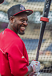 20 May 2014: Cincinnati Reds second baseman Brandon Phillips awaits his turn in the batting cage prior to a game against the Washington Nationals at Nationals Park in Washington, DC. The Nationals defeated the Reds 9-4 to take the second game of their 3-game series. Mandatory Credit: Ed Wolfstein Photo *** RAW (NEF) Image File Available ***