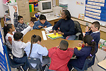 Oakland CA 2nd grade teacher leading group discussion in class
