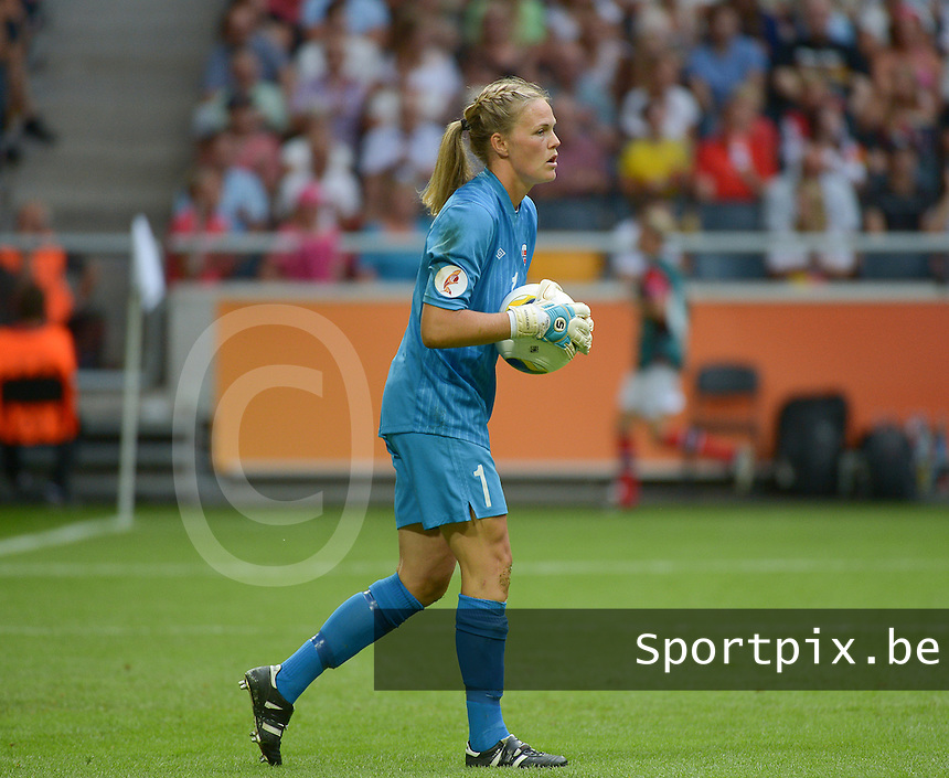 20130728 - Solna , Sweden : Norway Ingrid Hjelmseth pictured during the female soccer match between Germany and Norway , in the final of the UEFA Women's Euro Championship 2013  at the Friends Arena  , Solna Stockholm . Sunday 28th July 2013. PHOTO DAVID CATRY