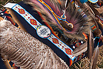 Close up of Native American Pow Wow Northern traditional regalia.<br />