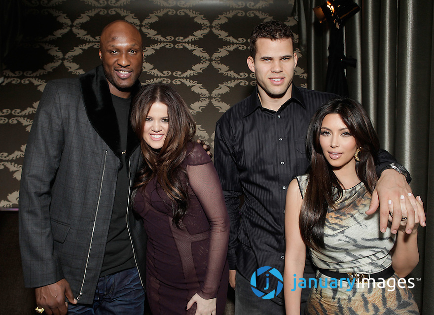 "LOS ANGELES, CA - FEBRUARY 18:  Lamar Odom, Khloe Kardashian, Kris Humphries and Kim Kardashian attend Kevin Hart's ""Laugh At My Pain"" Official After Party at Club Nokia on February 18, 2011 in Los Angeles, California.  (Photo by Todd Williamson/WireImage)"